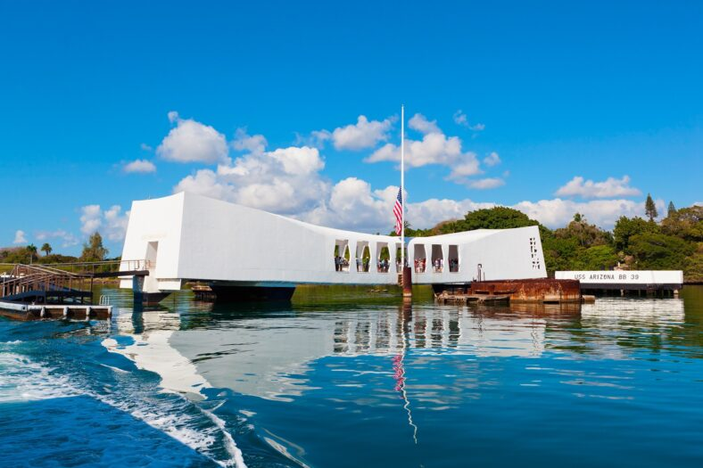 Pearl Harbor memorial above body of water