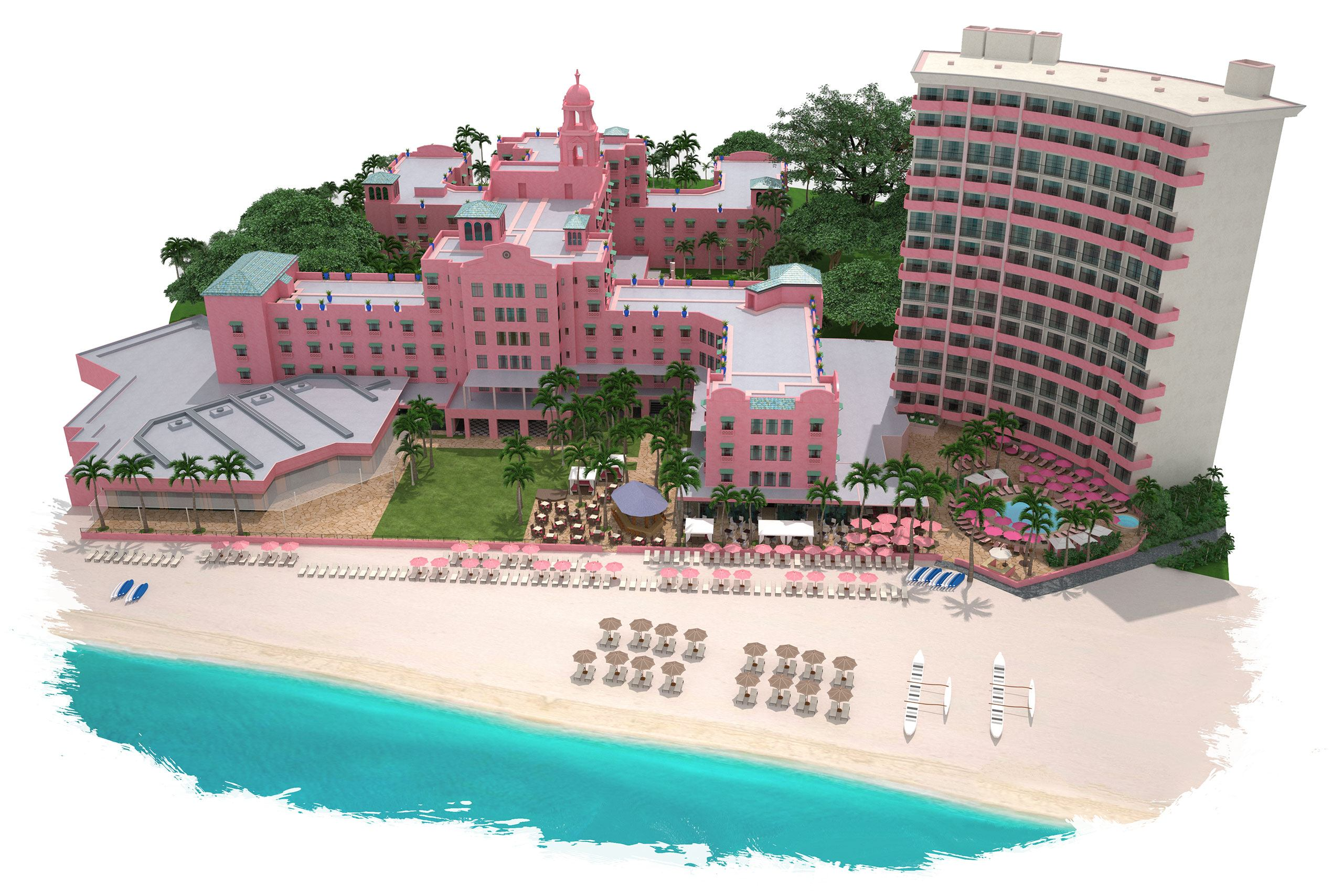 3D rendering of a resort building on the beach
