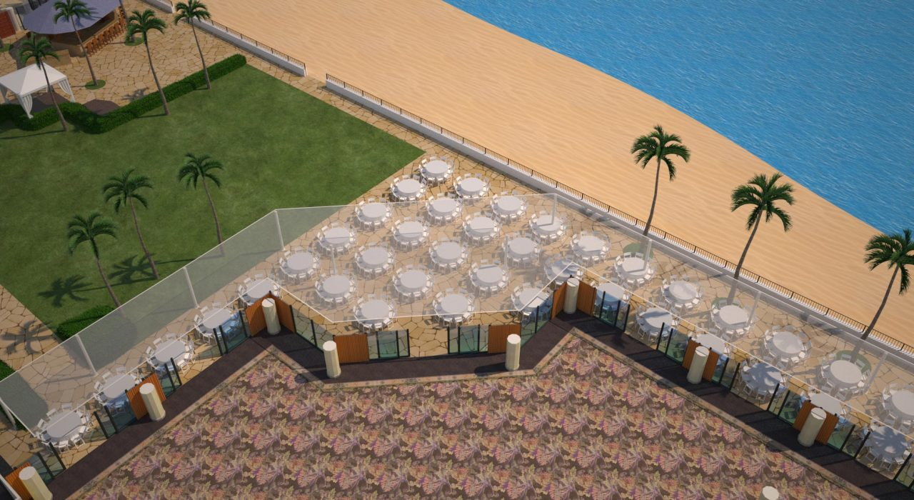 3D render of outdoor meeting space with table and chairs setup