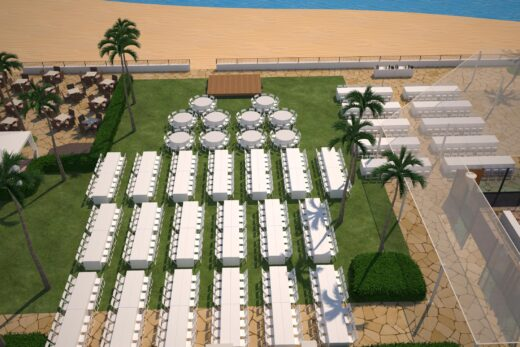 3D render of outdoor meeting spaces with tables setup