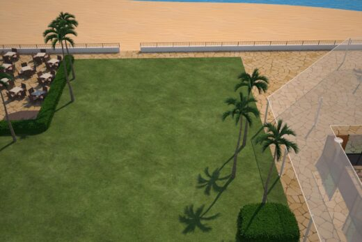 3D render of outdoor meeting spaces