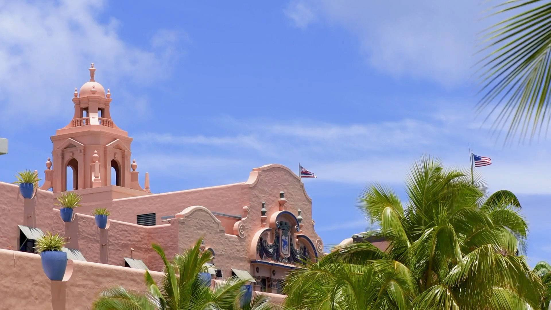 architectural photo of pink building