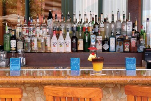 cocktail drink on bar counter