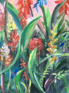green plant with red flowers canvas painting