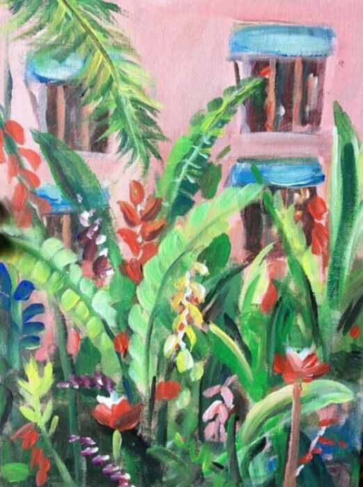 multicolored plant paintings