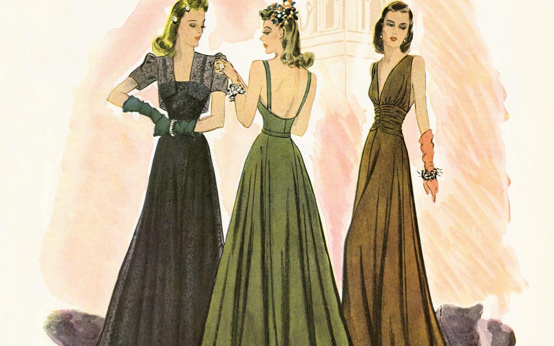 three women in dress painting