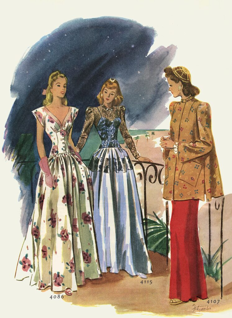 painting of 3 women wearing dresses