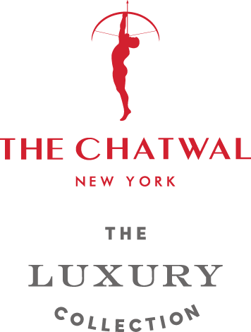 logo with a red silhouette of an archer pointing upward followed by The Chatwal New York in red and The Luxury Collection in grey