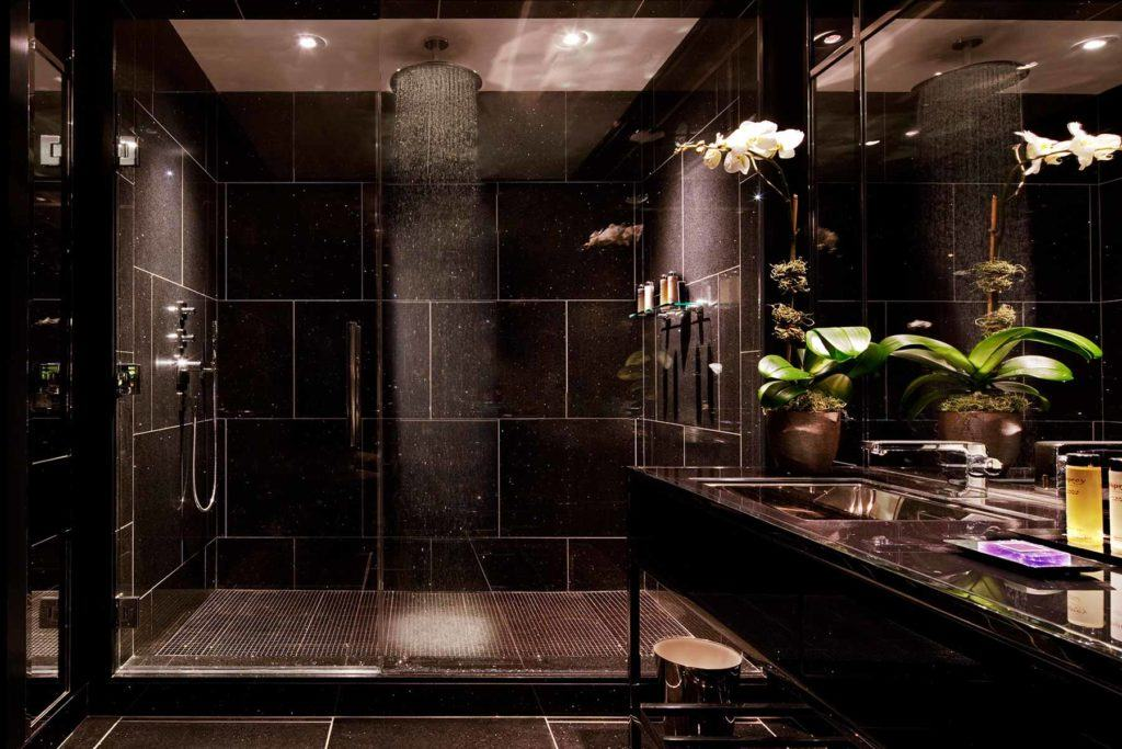 Bathroom with large rain head shower