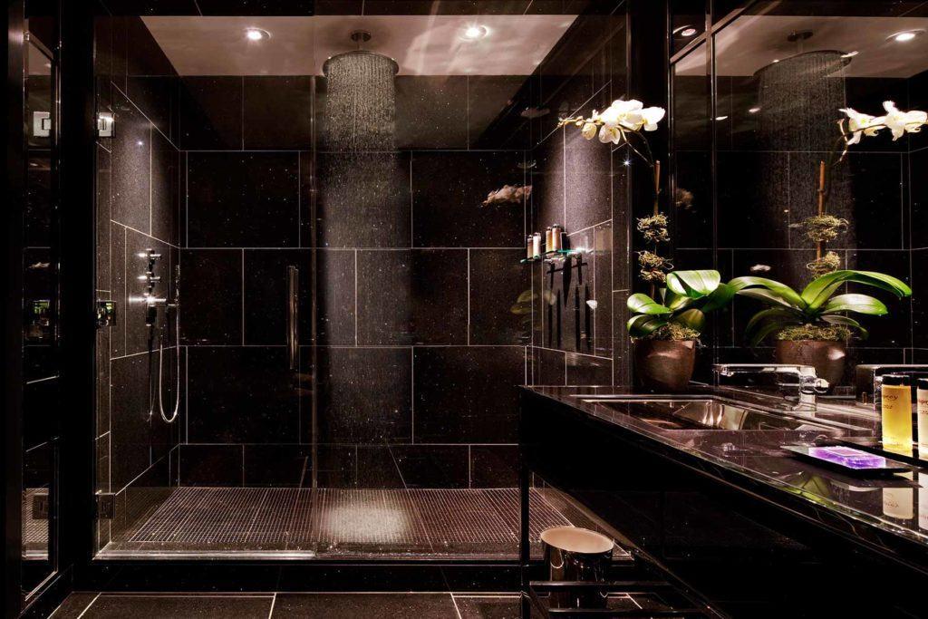 Bathroom with large rain head shower