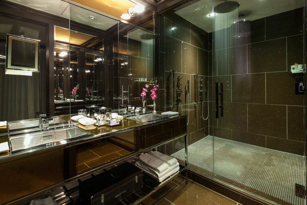 Large bathroom with double sinks and Twin Rain Showers