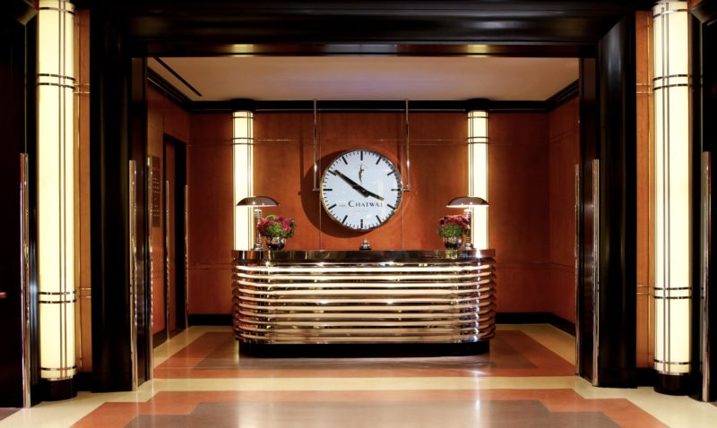 The Chatwal Art Deco Lobby Reception with large clock