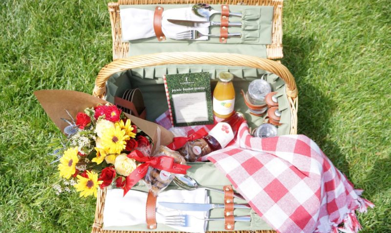 Picnic blanket with basket, flowers, cookies, picnic menu, juice and water