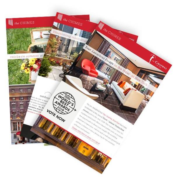 Three stacked and fanned out newsletter brochures with red headers, large images, and white backgrounds with black text