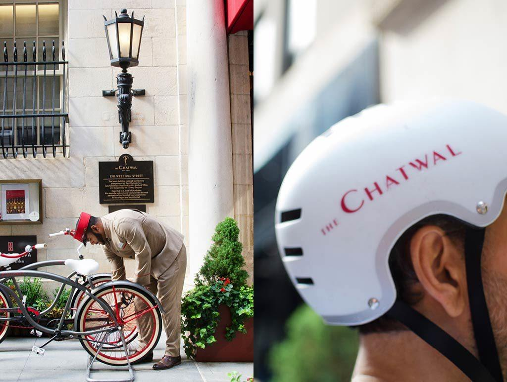 Split photo with Chatwal attendant checking bikes, and bike helmet with The Chatwal written on it