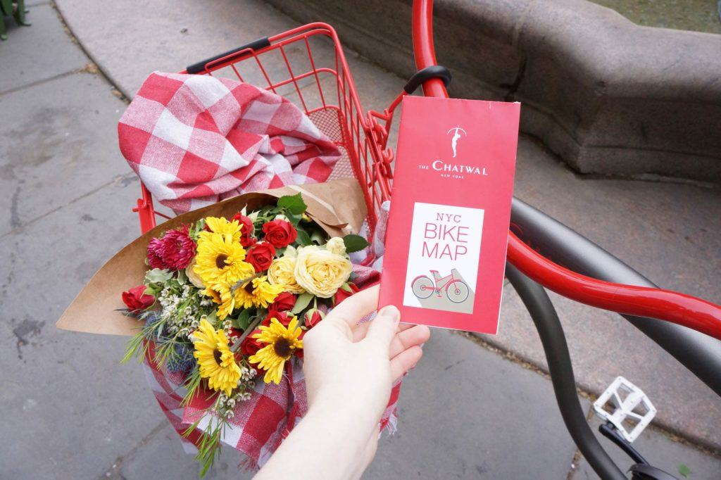 Grey, red and white bike with flowers, picnic blanket in the basket and a hand holding a bike map