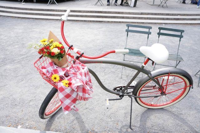 Grey, red and white bike with flowers and picnic blanket in the basket