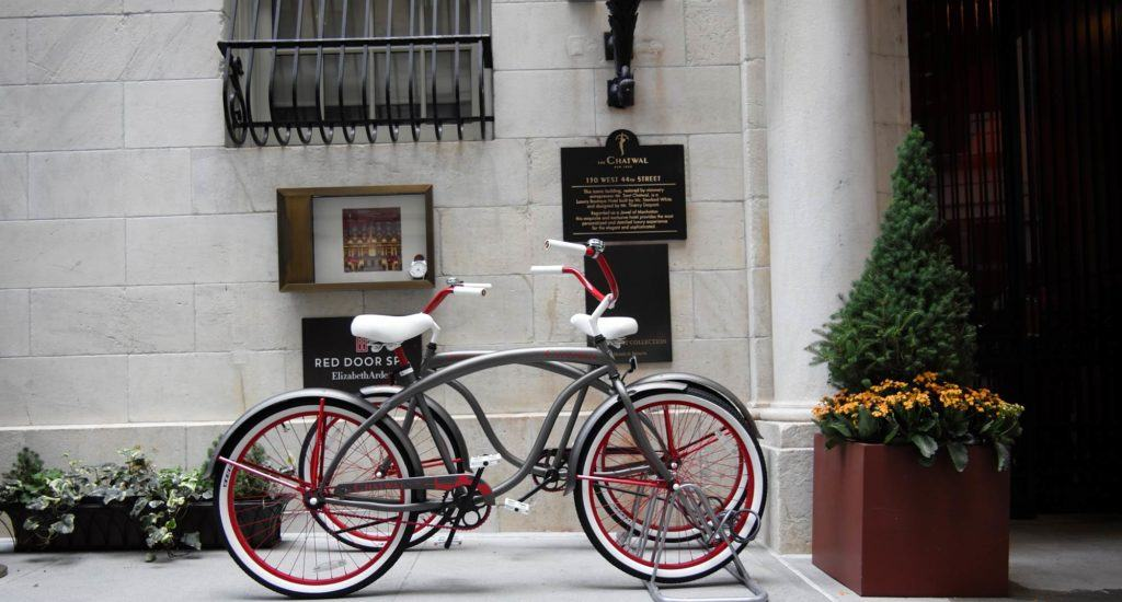 Pair of bikes in bike rack outside The Chatwal