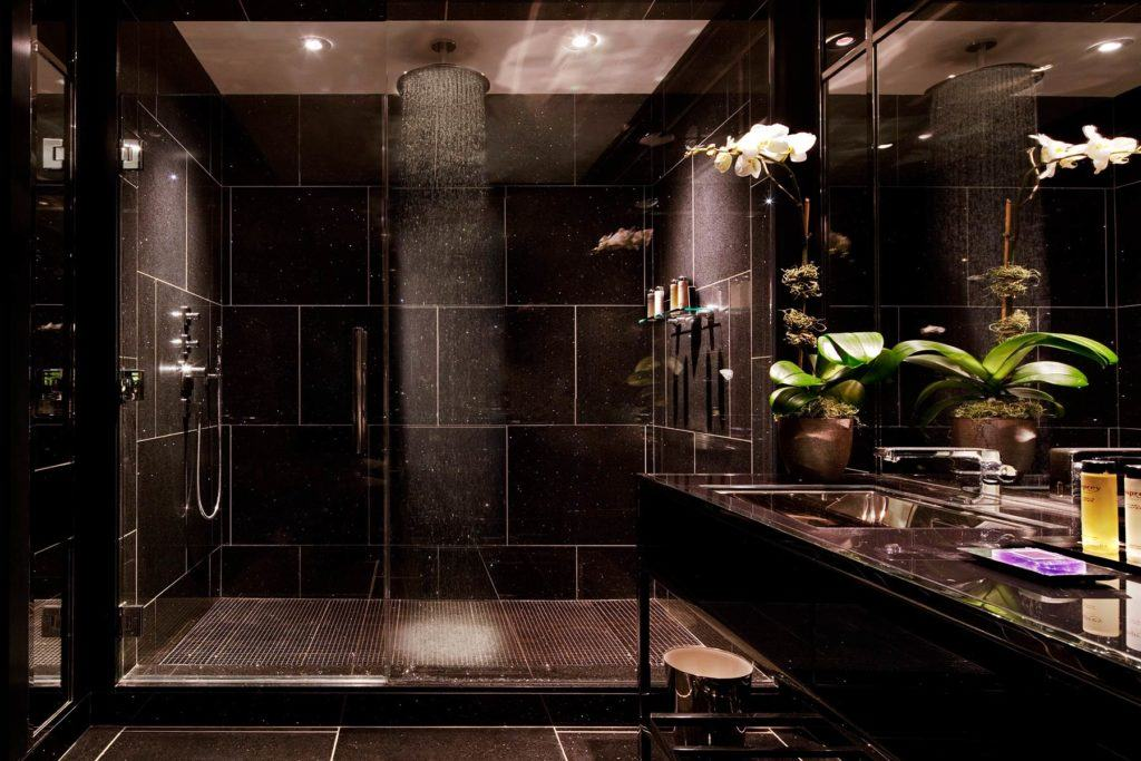 Dark bathroom with large rain head shower