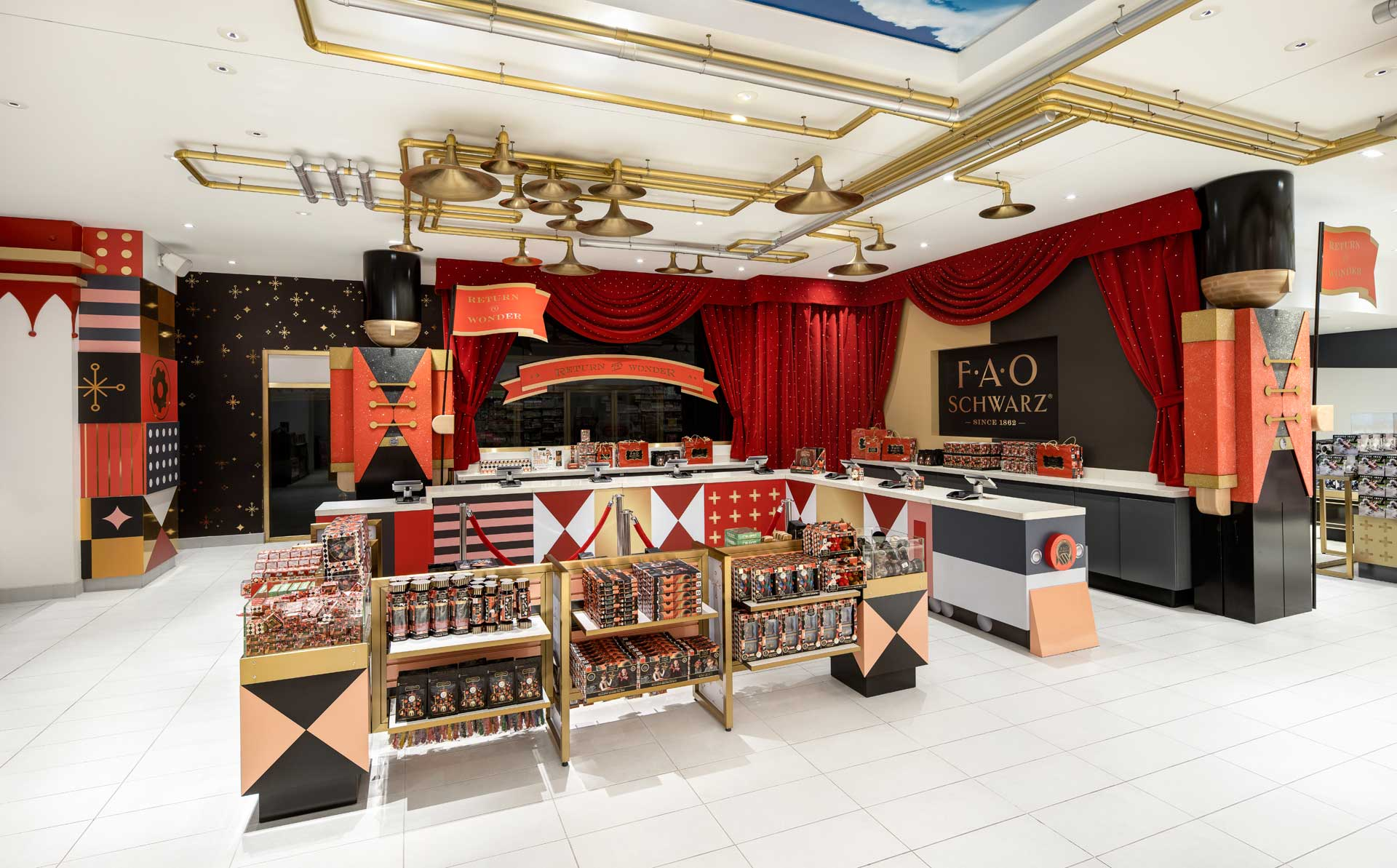 colourful festive interior of fao schwarz toy store