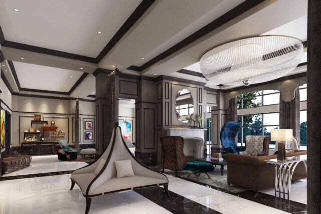 modern luxury hotel lobby rendering with marble black and white floor various chairs and couches and decorative elements