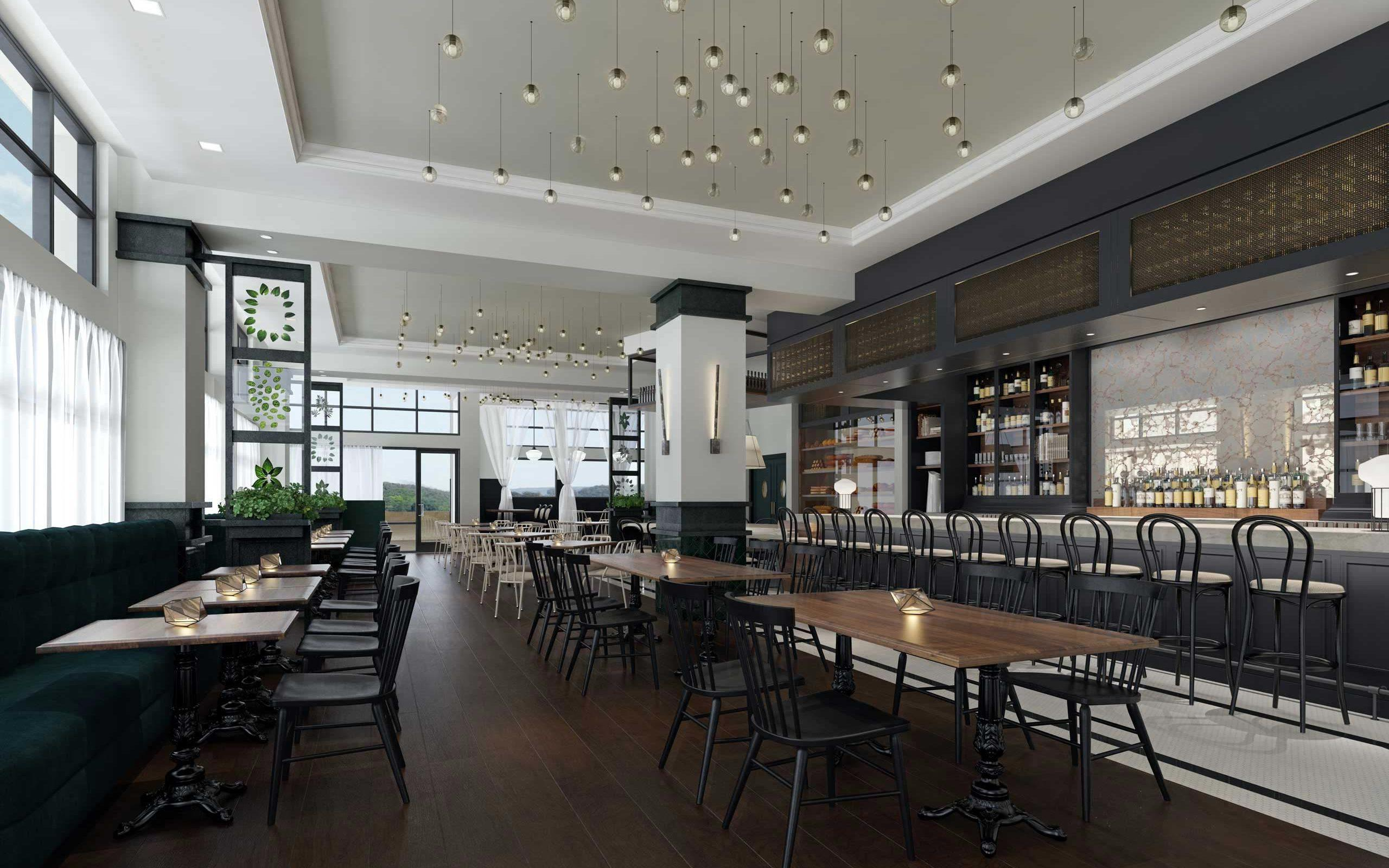 modern restaurant rendering with dark brown wooden floors black chairs a bar off to the right and terrace in the background