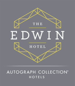 The Edwin Hotel, Autograph Collection Hotels logo in grey, white, and yellow