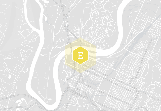 Street map of Chattanooga Tennessee with a marker on The Edwin Hotel