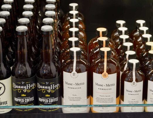 display of different kombucha and coffee beverages