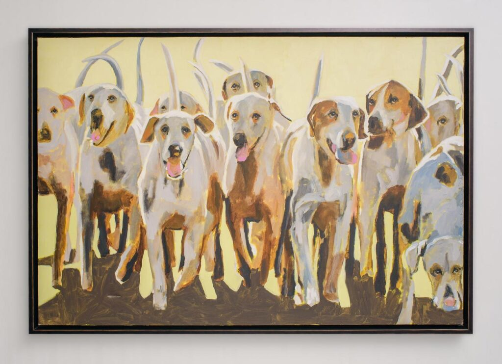 painting of white dogs displayed on a white wall
