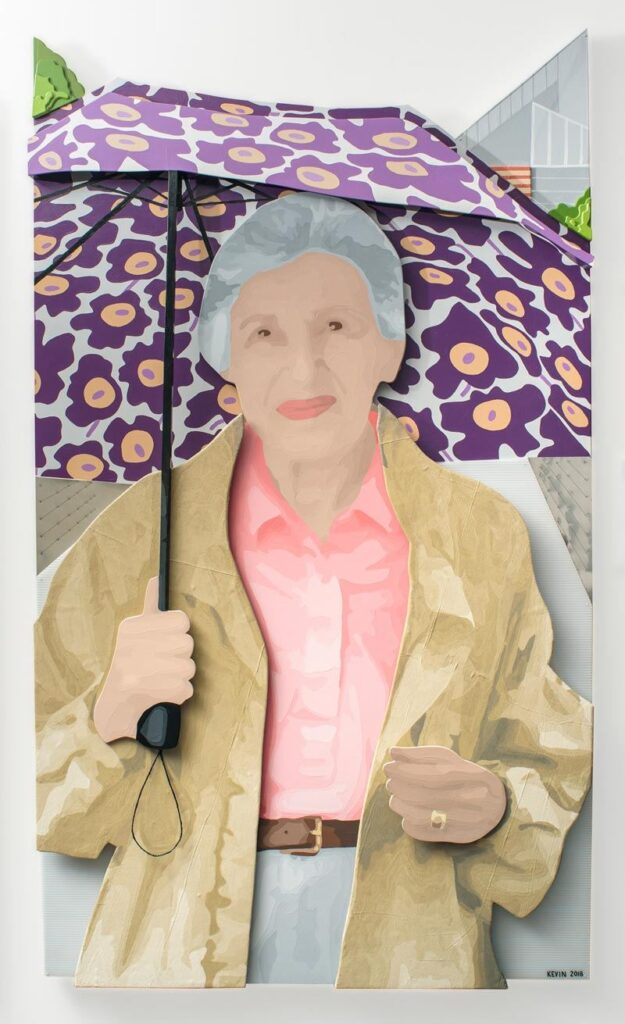 artwork of an old woman holding a purple umbrella