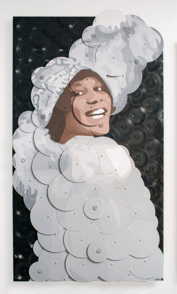 artwork of a woman wearing a big white gown and matching hat smiling