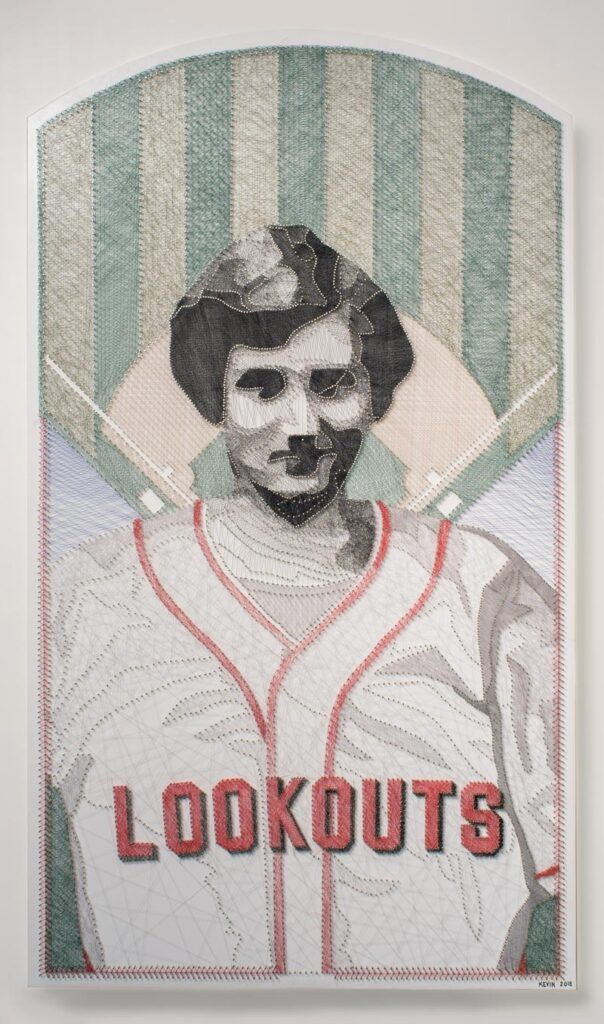 """artwork of a baseball player with a """"Lookouts"""" jersey"""