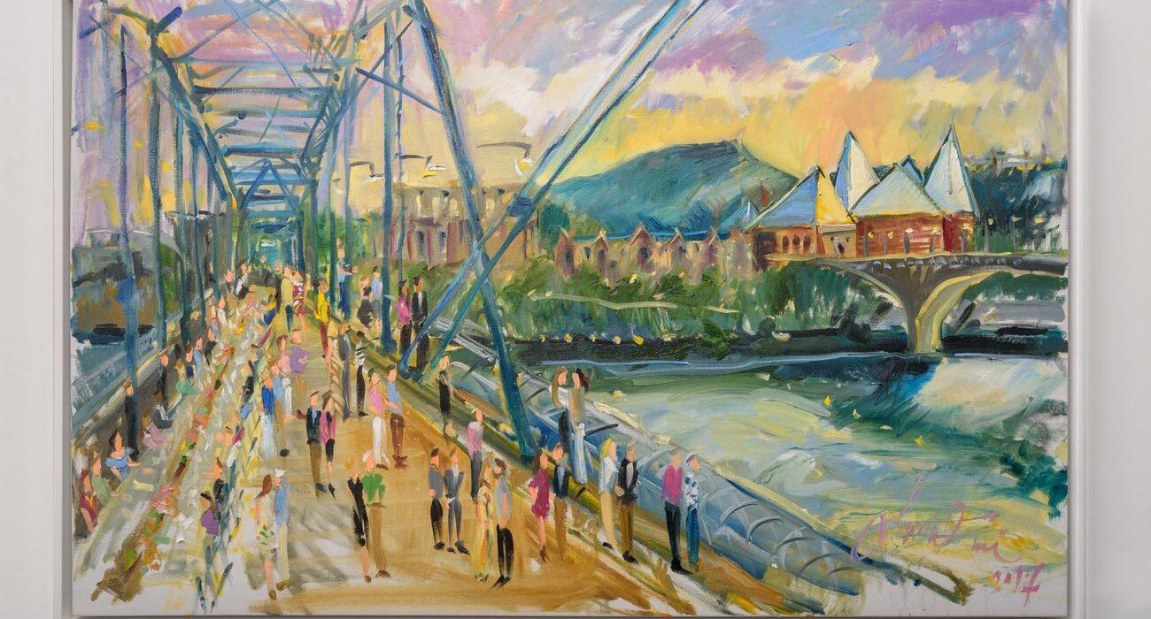 painting of people walking across a big blue bridge