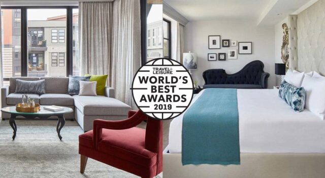 Travel + Leisure World's Best Award 2019 Badge and The Edwin Hotel suite photos
