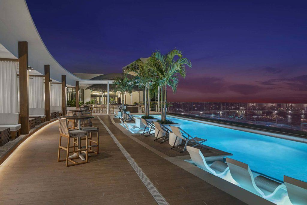 rooftop pool evening