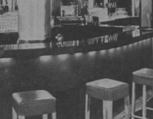 bar stool seats around Blue Bar in 1933