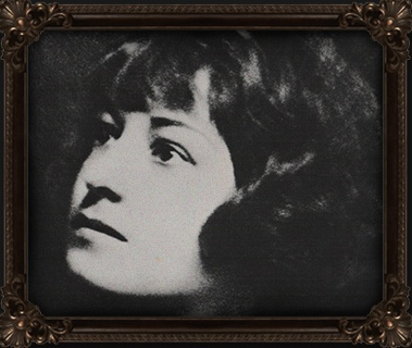 grayscale photo of woman with brown wooden frame