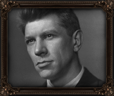 grayscale photo of Harold Ross with gold-colored wooden frame