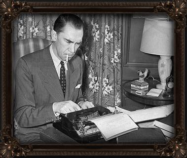 Sherwood using typewriter