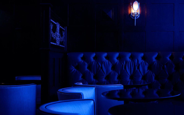 dining room lite in blue light