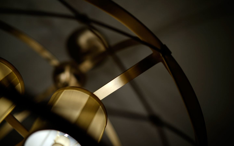 close up detail shot of a bronze chandelier