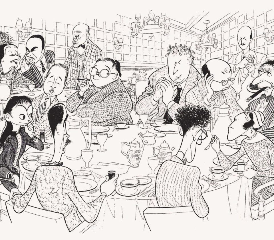 The Round Table illustration oh guests dining