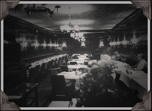 old black and white photo of the Oak Room