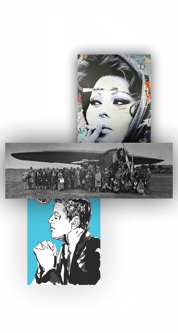 grayscale photo of woman smoking, an old photograph of an airplane and an illustration