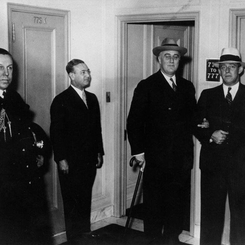 Roosevelt outside Suite 776 in The Mayflower Hotel in 1933