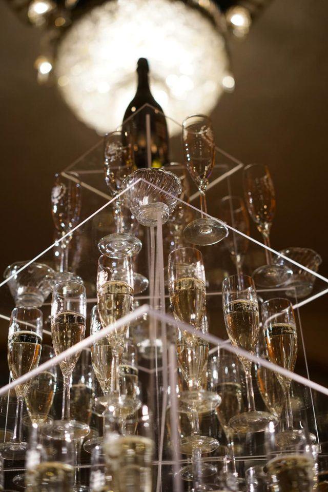 wine glass bottle on clear glass platform