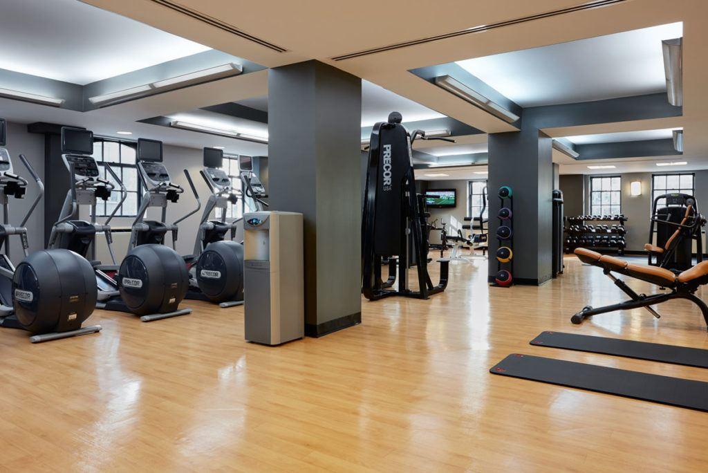 black exercise equipment inside gym
