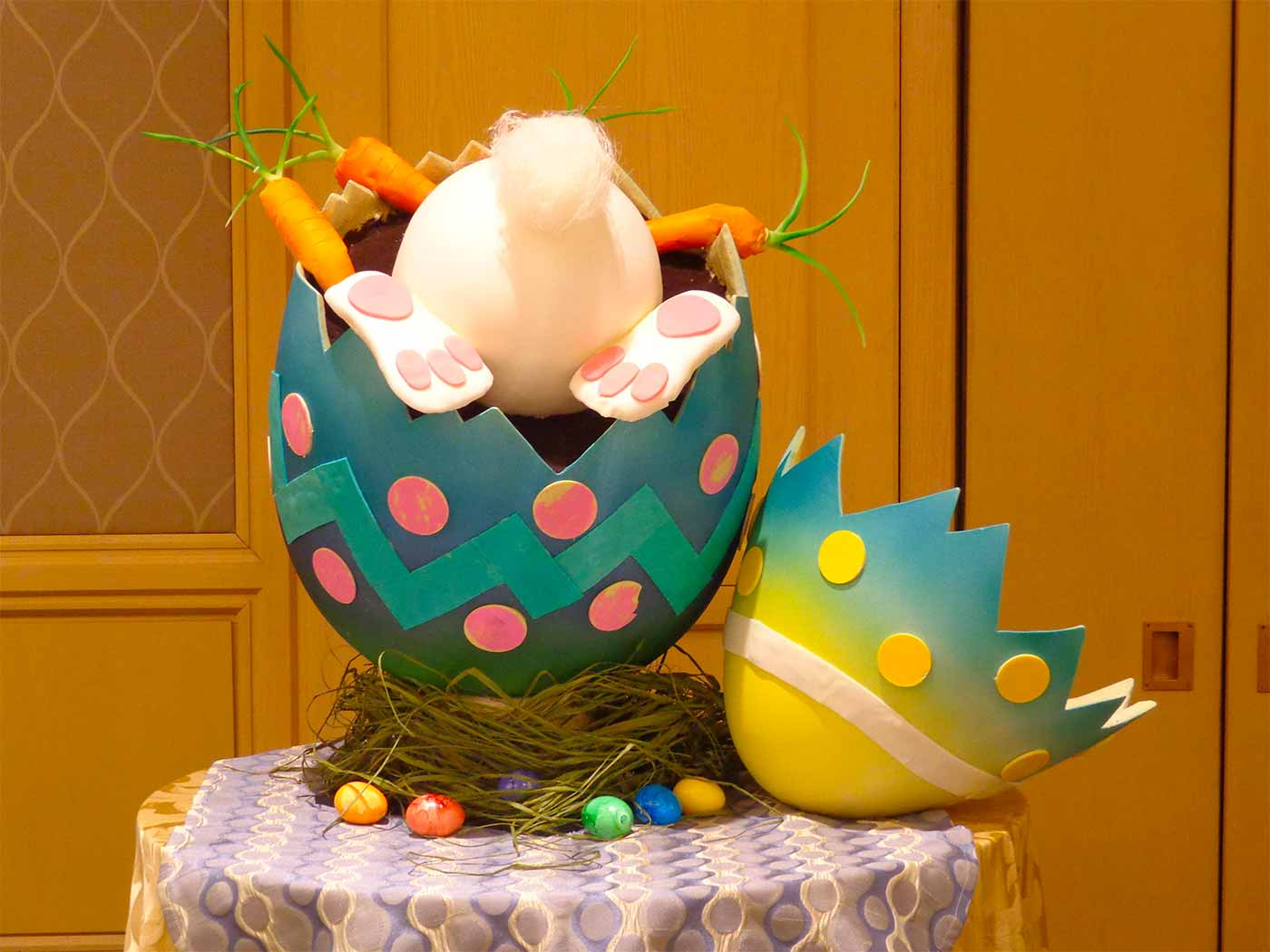 Easter centerpiece made entirely of chocolate