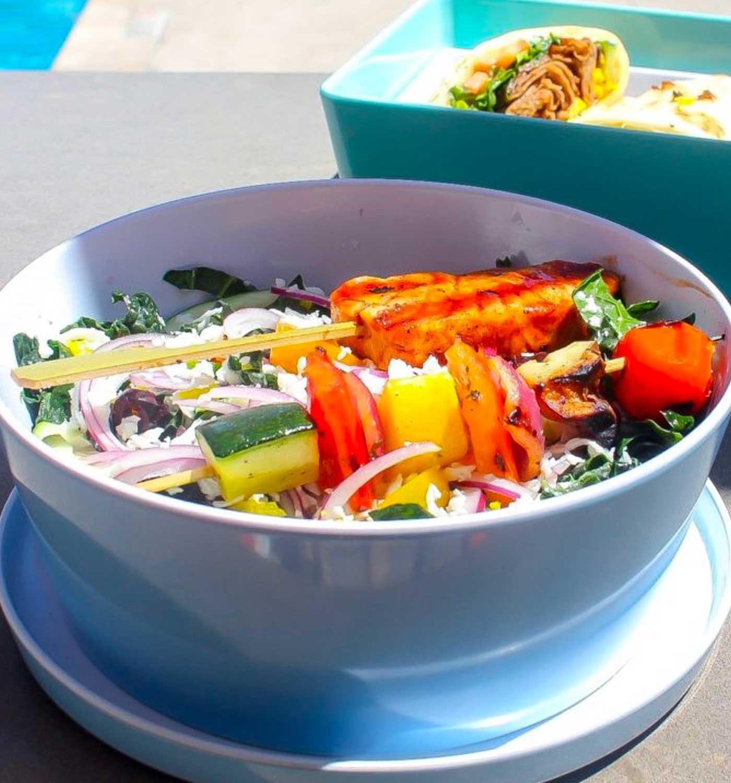 Greek Salad with Salmon/Veggie Kabobs and Gyro at Kalio Kabobery